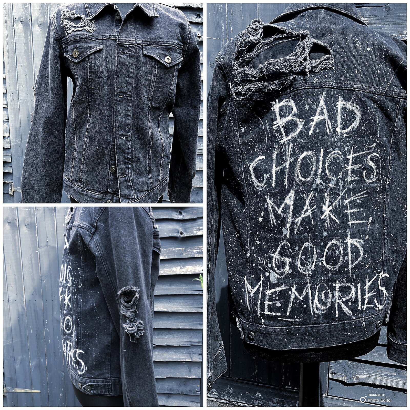 Hand painted 'bad choices' denim jacket