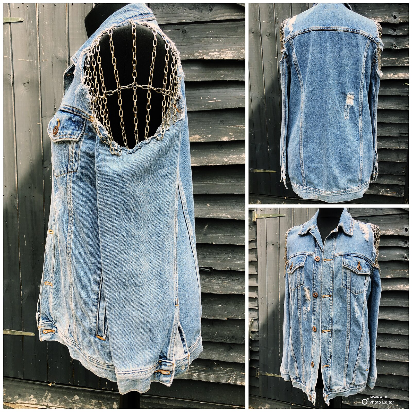 Hand made chain shoulder denim jacket