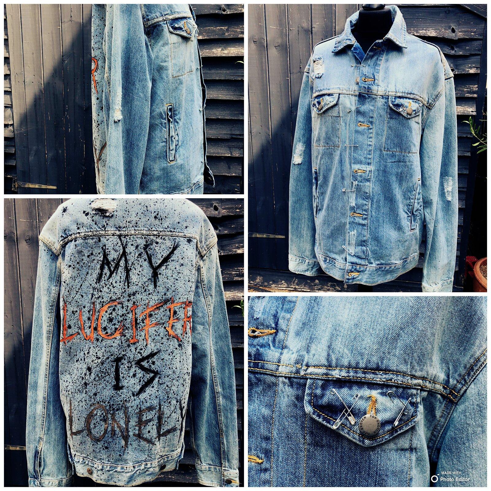 Hand painted 'lucifer' denim jacket