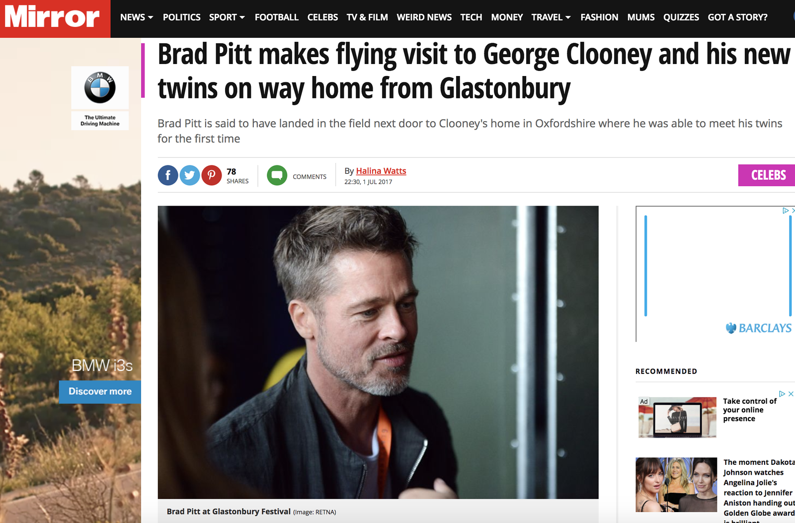 Brad Pitt at Glastonbury 2017