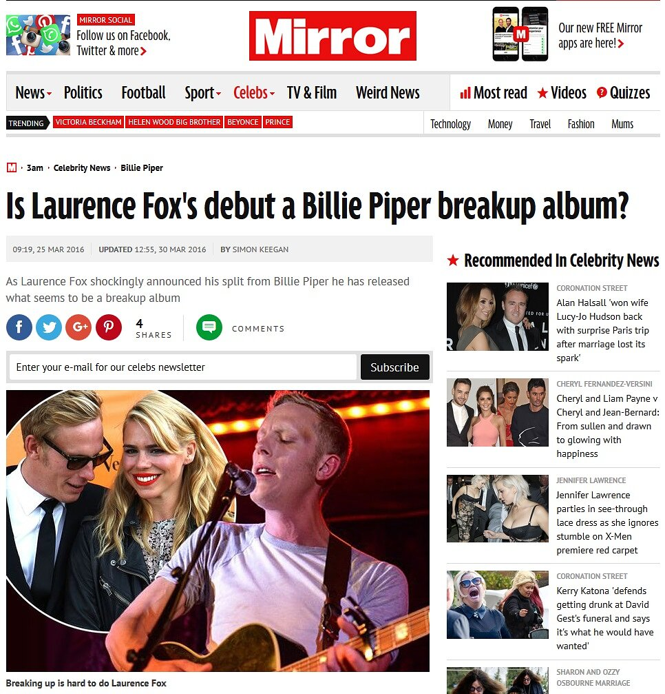 Laurence Fox - The Daily Mirror