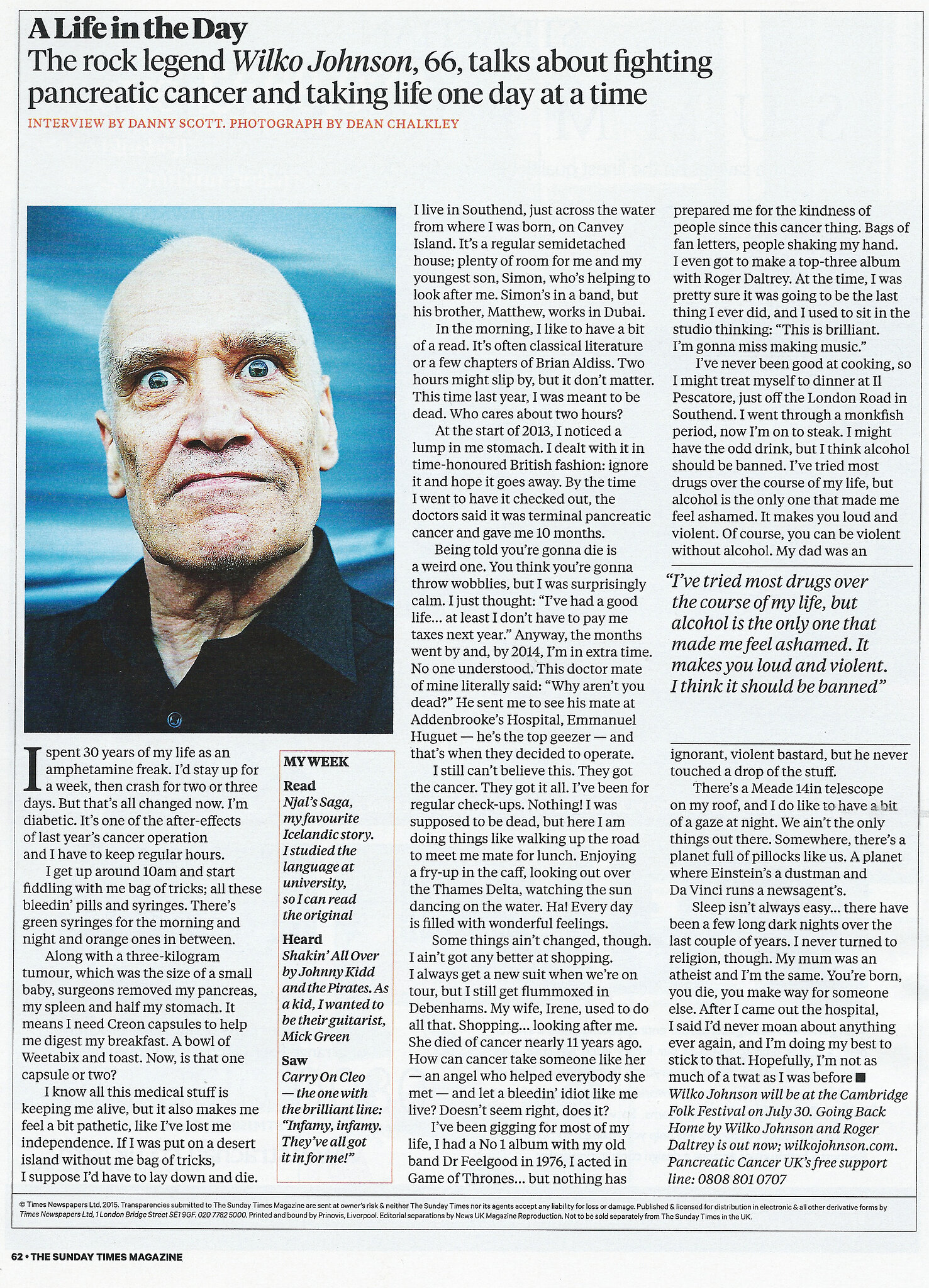 wilko Johnson sunday times