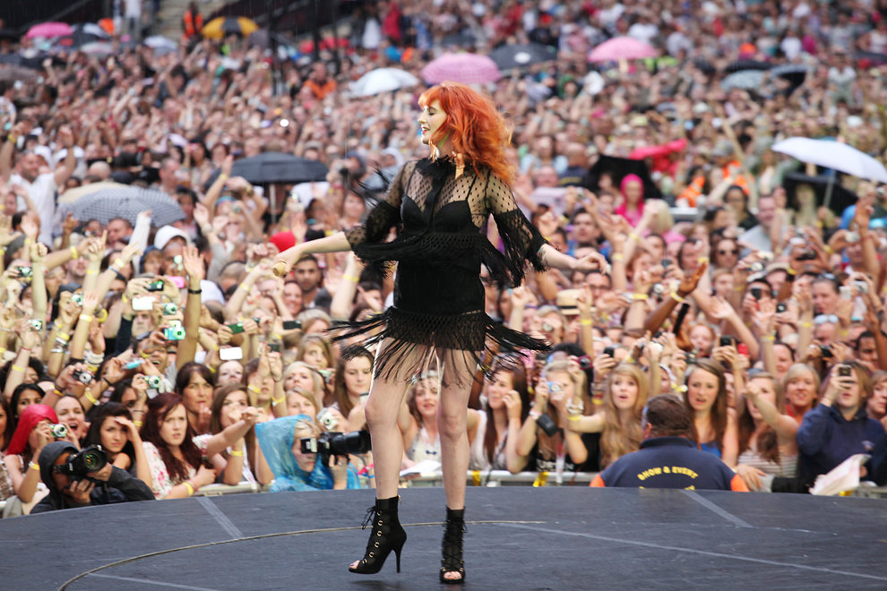 Florence Welch performs with Dizzee Rascal