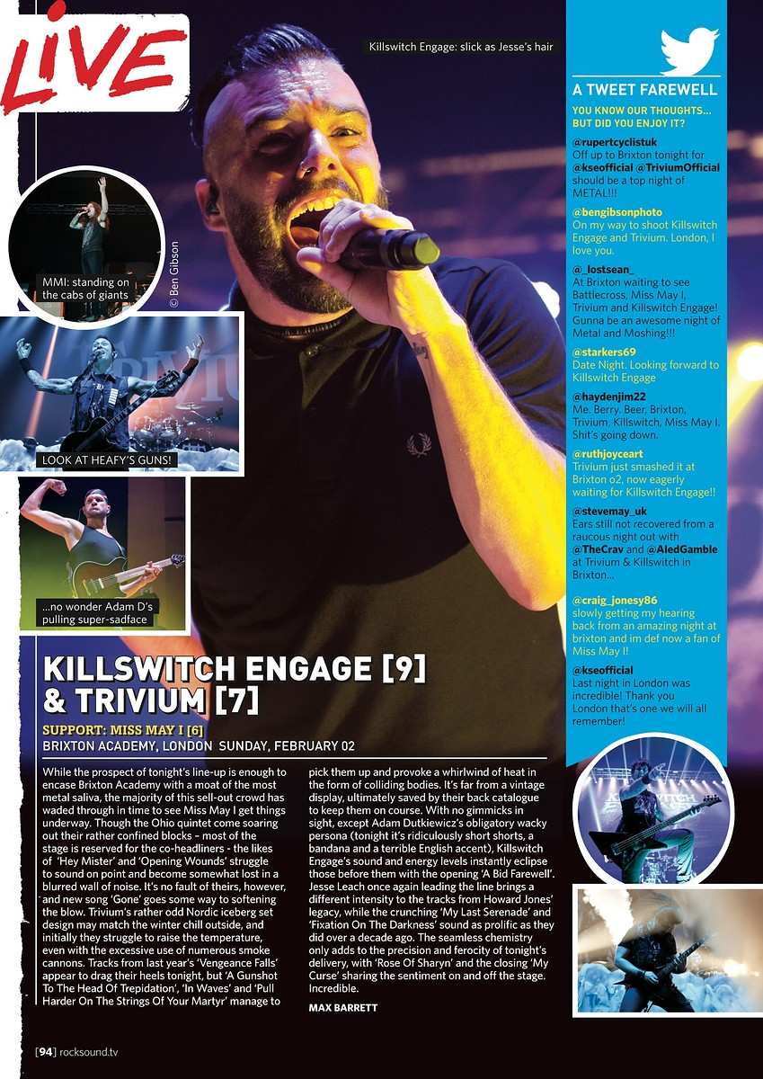Killswitch Engage & Trivium // Rock Sound, April 2014