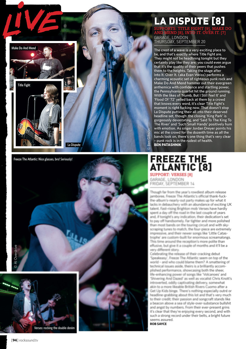 La Dispute // Rock Sound, November 2012