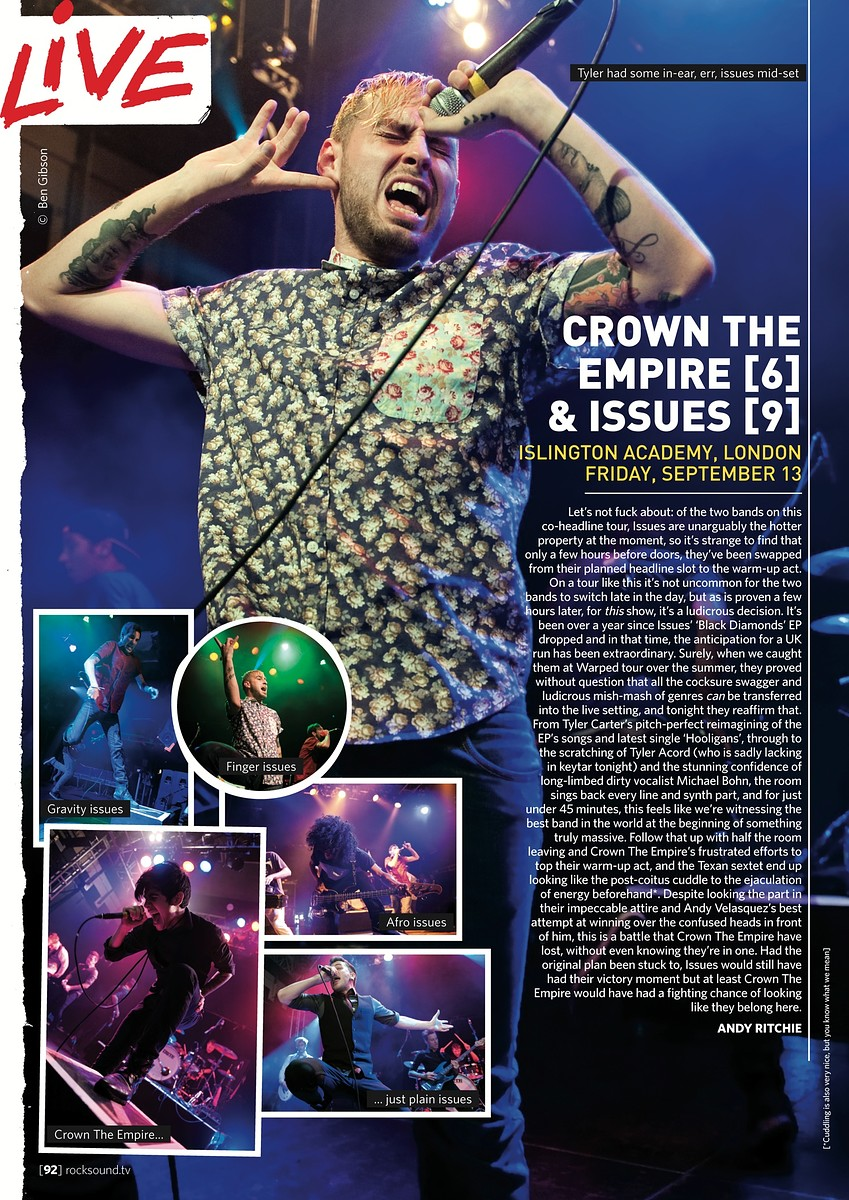 Crown The Empire & Issues // Rock Sound, November 2013