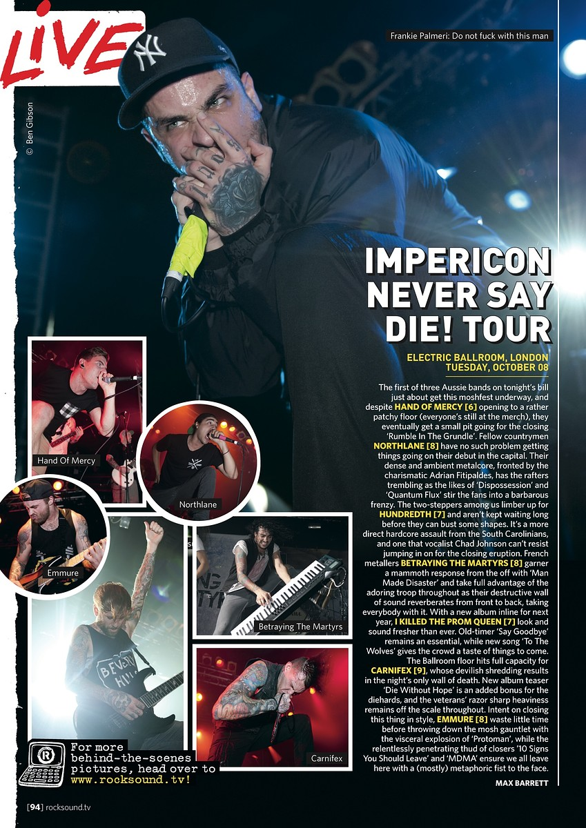 Impericon Never Say Die! Tour // Rock Sound, December 2013