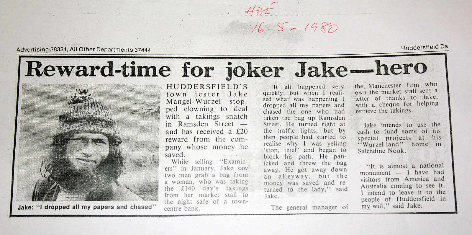 Newspaper Article 1980, Huddersfield Daily Examiner