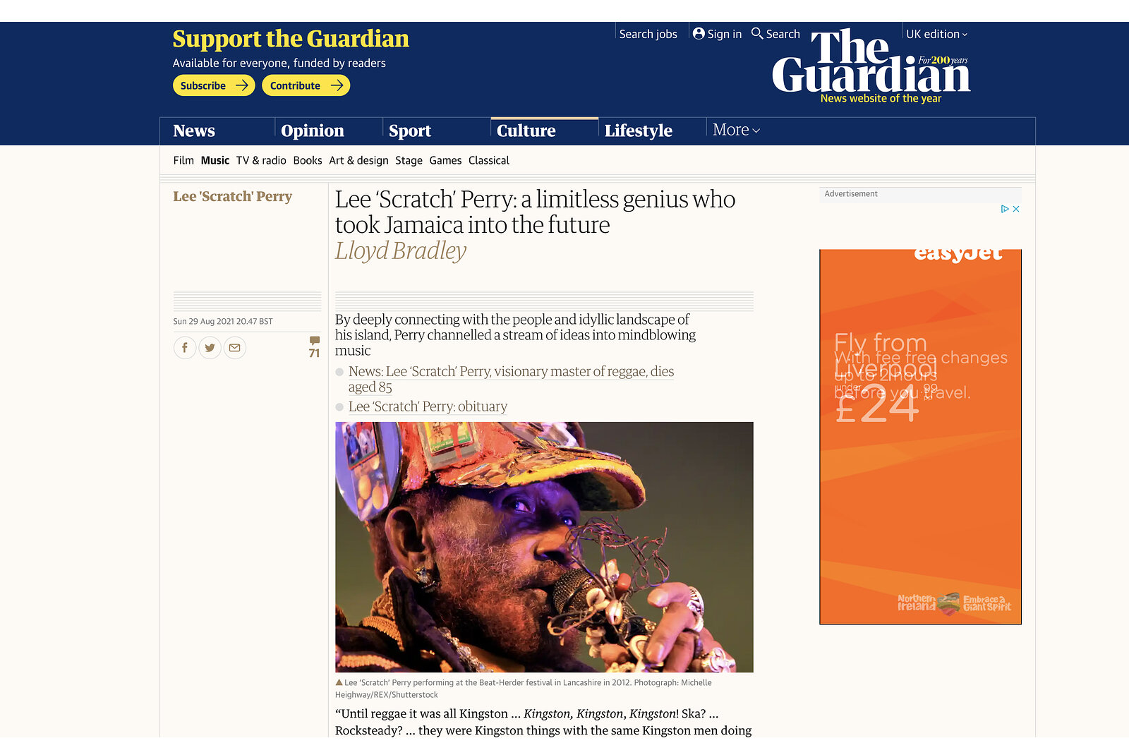 Lee Scratch Perry Live at Beat Herder 2012 (Archive) - The Guardian Sept 2021
